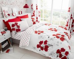 Poppy red cotton blend duvet cover