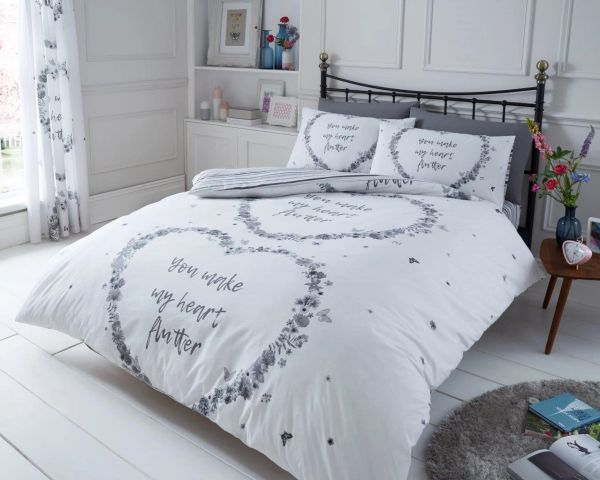 Flutter grey duvet cover