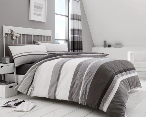 Hudson grey cotton blend duvet cover