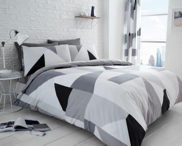 Sydney grey cotton blend duvet cover