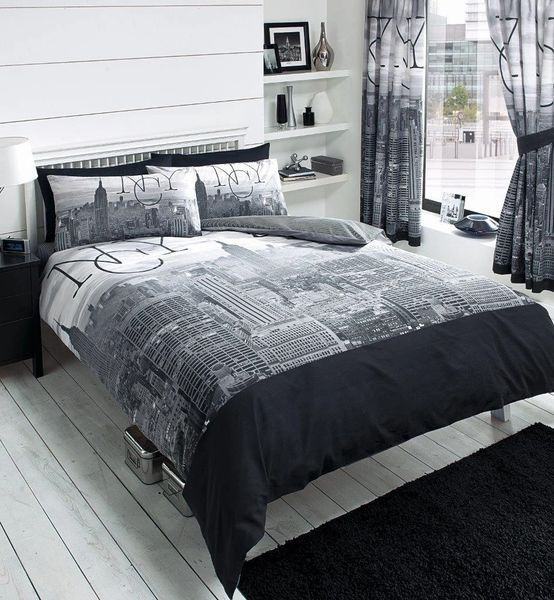 NYC grey duvet cover