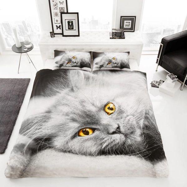 3D print Cat cotton blend duvet cover