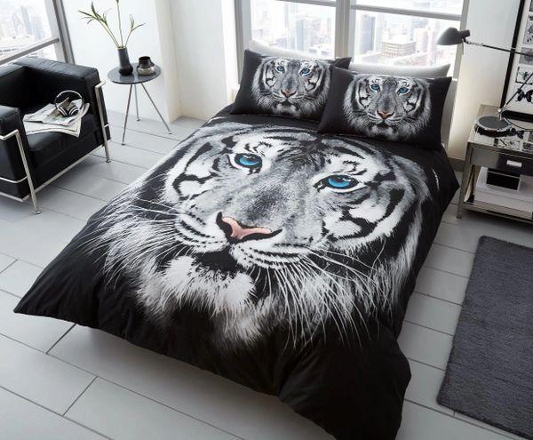 3D print Tiger Face black & white duvet cover