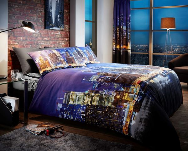 New York Night Life cotton blend duvet cover