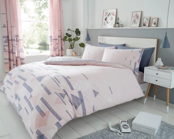 Benton pink cotton blend duvet cover