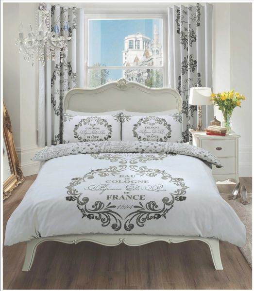 Script Paris silver grey duvet cover