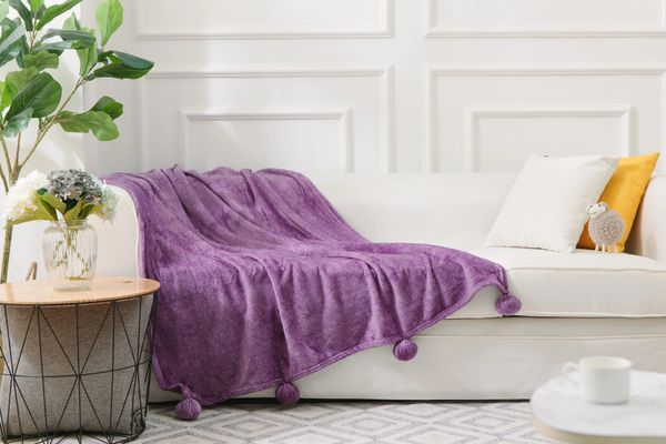 Pom Pom two tone speckled purple faux fur throw