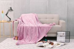 Pom Pom plain fuchsia faux fur throw