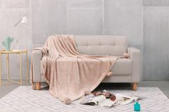 Pom Pom plain mink faux fur throw