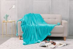 Pom Pom plain teal faux fur throw