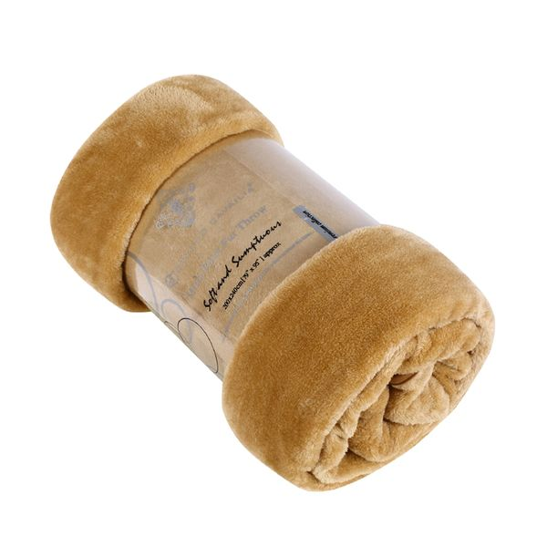 Plain biscuit mink faux fur throw / blanket