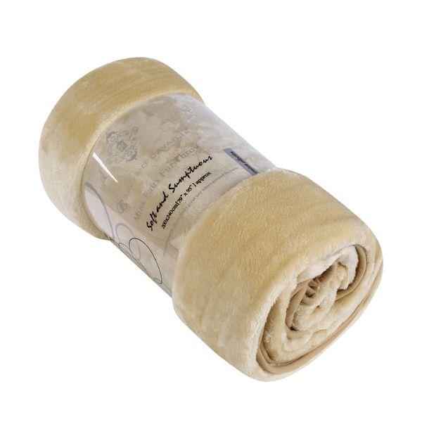 Plain cream mink faux fur throw / blanket