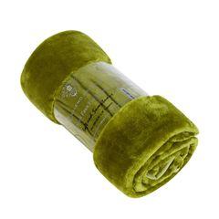 Plain fern green mink faux fur throw / blanket
