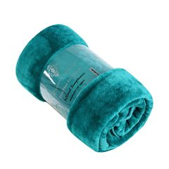Plain teal mink faux fur throw / blanket