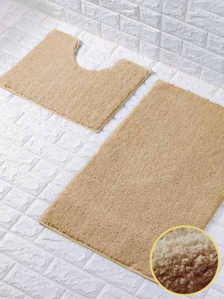 Beige glittery 2 piece bath mat set