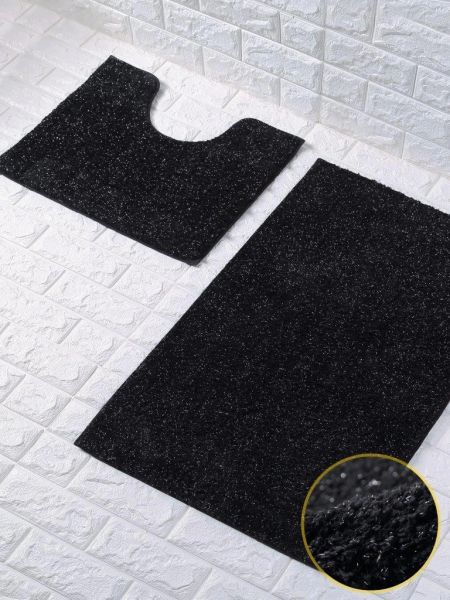 Black glittery 2 piece bath mat set