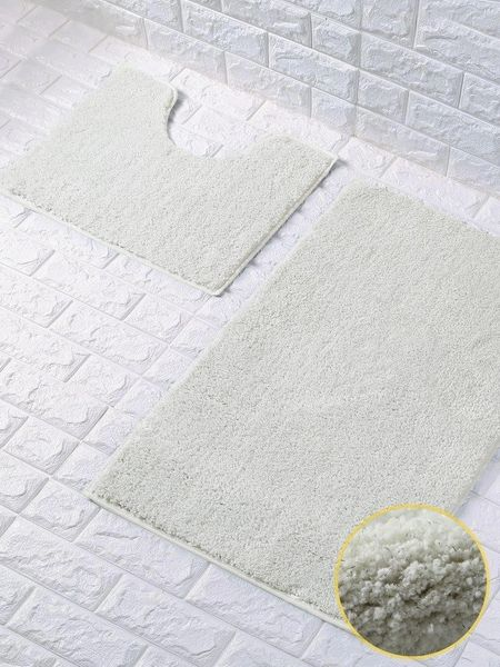 Cream glittery 2 piece bath mat set