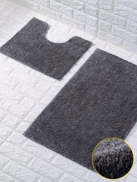 Dark grey glittery 2 piece bath mat set