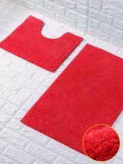 Deep red glittery 2 piece bath mat set