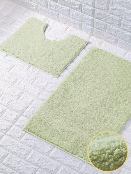 Mint green glittery 2 piece bath mat set