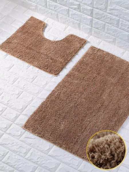 Natural glittery 2 piece bath mat set