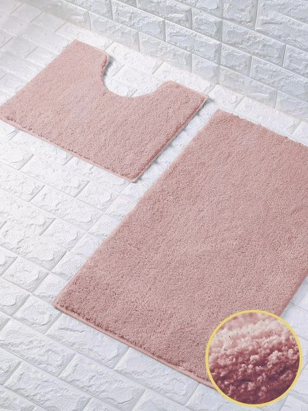 Pink glittery 2 piece bath mat set