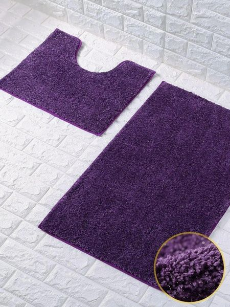 Purple glittery 2 piece bath mat set