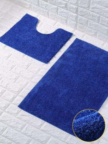Royal blue glittery 2 piece bath mat set