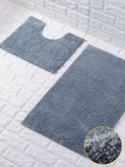 Silver glittery 2 piece bath mat set