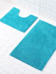 Teal glittery 2 piece bath mat set