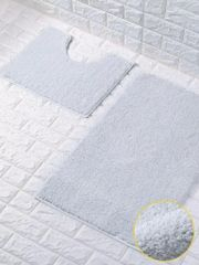 White glittery 2 piece bath mat set