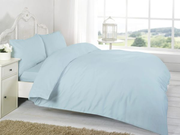 Blue Egyptian Cotton 200 TC fitted sheet