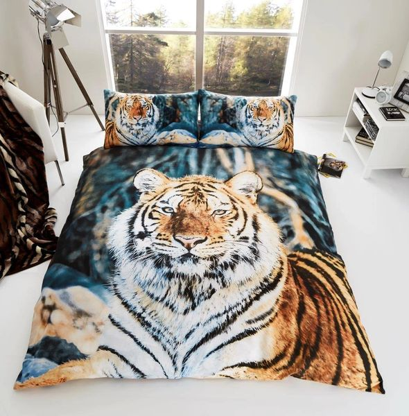 3D print Tiger cotton blend duvet cover
