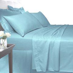 Blue Egyptian Cotton Satin Stripe 200 TC duvet cover