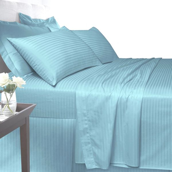 Blue Egyptian Cotton Satin Stripe 200 TC duvet cover