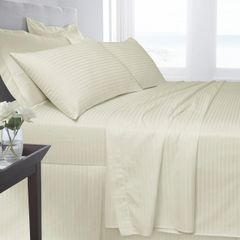 Cream Egyptian Cotton Satin Stripe 200 TC duvet cover