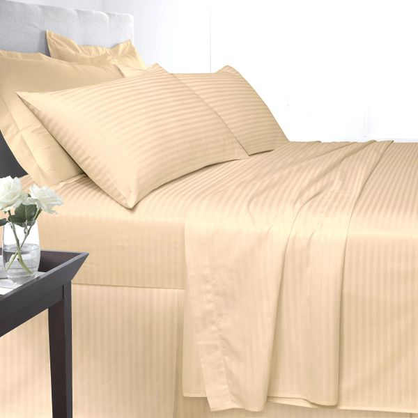 Mocha Egyptian Cotton Satin Stripe 200 TC duvet cover