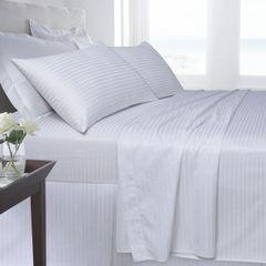White Egyptian Cotton Satin Stripe 200 TC duvet cover