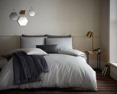 Pom Pom grey cotton blend duvet cover