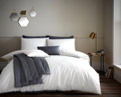 Pom Pom white cotton blend duvet cover