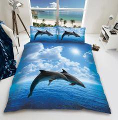 3D print Dolphin cotton blend duvet cover