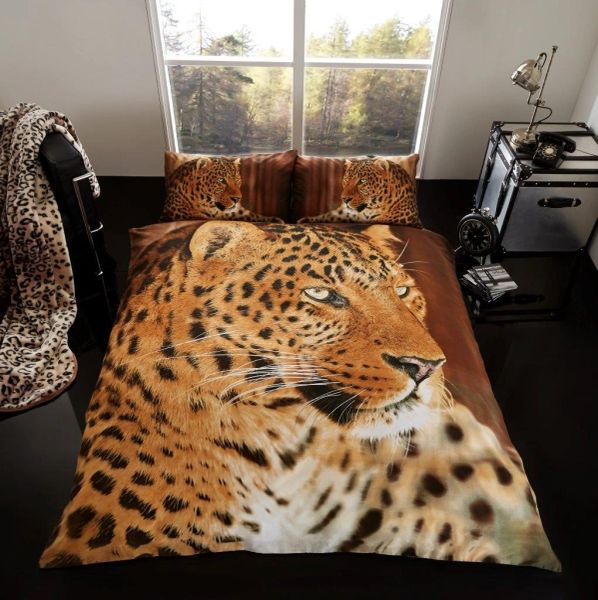 3D print Leopard cotton blend duvet cover