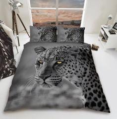 3D print Grey Leopard cotton blend duvet cover