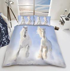 3D print White Horse cotton blend duvet cover