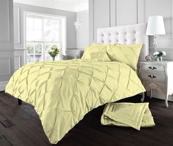 Alford yellow cotton blend duvet cover