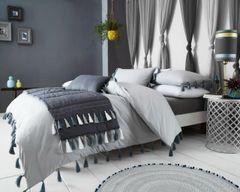 Tassel grey cotton blend duvet cover