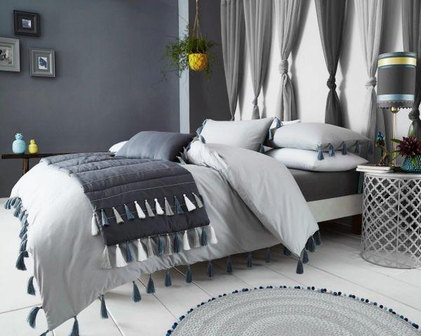 Tassel grey duvet cover