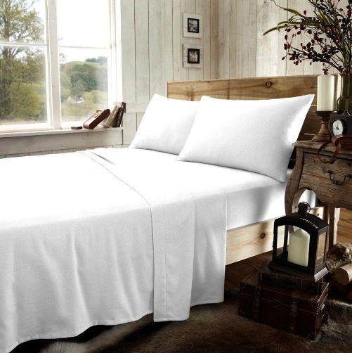 White flannelette flat sheet
