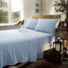 Blue flannelette fitted sheet