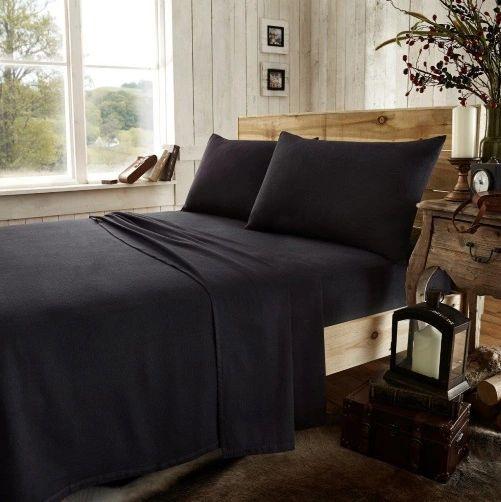 Black flannelette fitted sheet